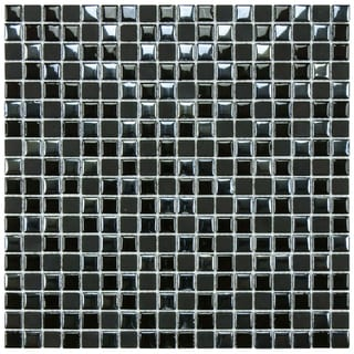 SomerTile 11.75x11.75-inch Posh Pixie Black Porcelain Mosaic Tiles (Set of 10)