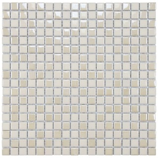 SomerTile 11.75x11.75-inch Posh Pixie Almond Porcelain Mosaic Tiles (Set of 10)