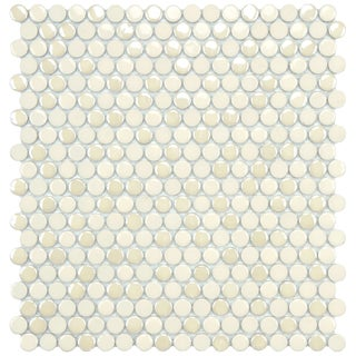 SomerTile 11.25x12-inch Posh Penny Round Almond Porcelain Mosaic Tiles (Set of 10)