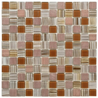 SomerTile 11.5x11.5-inch Chroma Square Cocoa Glass and Stone Mosaic Tiles (Set of 10)