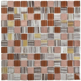 SomerTile 11.5x11.5-inch Chroma Square Cocoa Glass and Stone Mosaic Wall Tile (Case of 10)