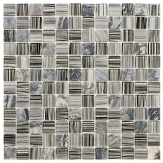 SomerTile 11.5x11.5-inch Chroma Square Licorice Glass and Stone Mosaic Tiles (Set of 10)