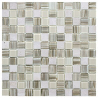 SomerTile 11.5x11.5-inch Chroma Square Pistachio Glass and Stone Mosaic Tiles (Set of 10)