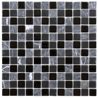 SomerTile 11.5x11.5-inch Chroma Square Ligoria Glass and Stone Mosaic Tiles (Set of 10)