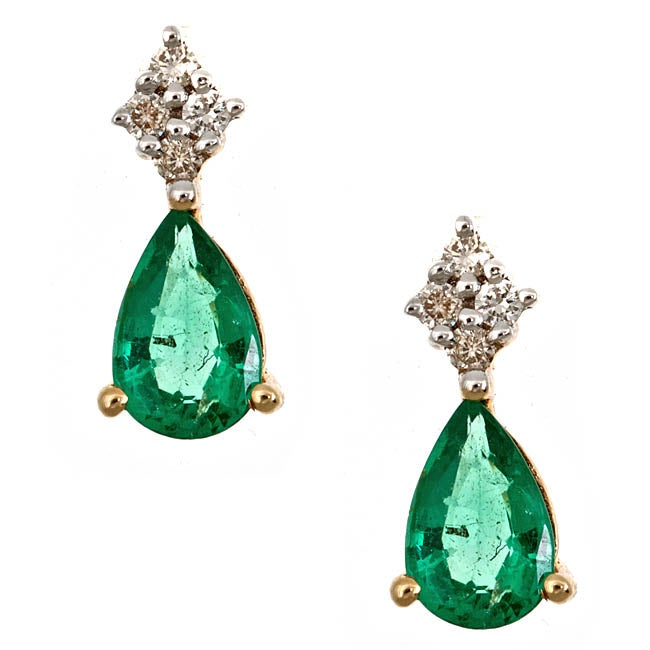 Anika and August 14k Yellow Gold Zambian Emerald and Diamond Accent Earrings