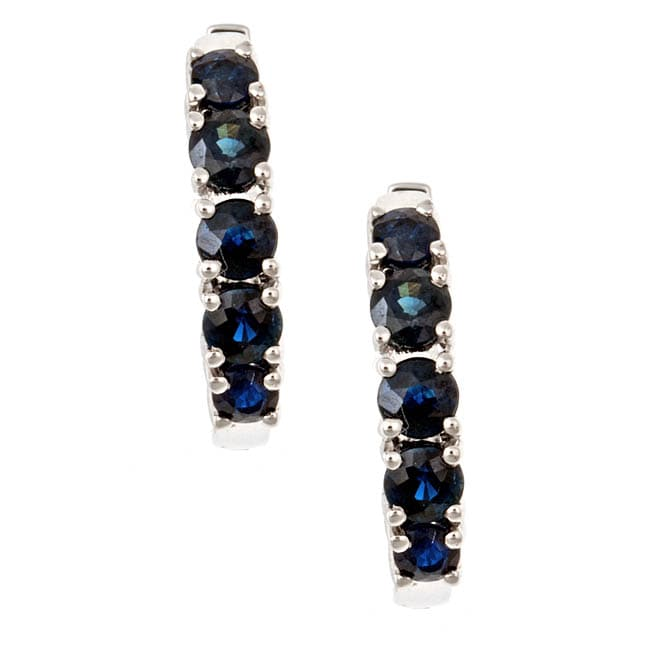 D'Yach 14k White Gold Blue Sapphires Hoop Earrings