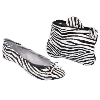 Sidekicks Women's Foldable Zebra Ballet Flats