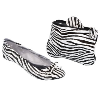 Sidekicks Women's Foldable Zebra Ballet Flats