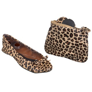 Sidekicks Women's Foldable Leopard Ballet Flats