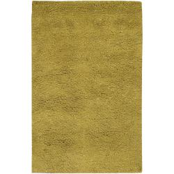 Hand-woven Lime MetropoliGreen New Zealand Wool Plush Shag Rug (9'x 13')