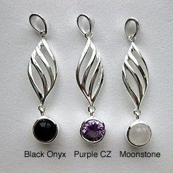 Sterling Silver Moonstone, Onyx and CZ Leaf Necklace (Thailand)