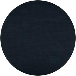 Hand-crafted Navy Blue Solid Causal Vaux Wool Rug (9'9 Round)