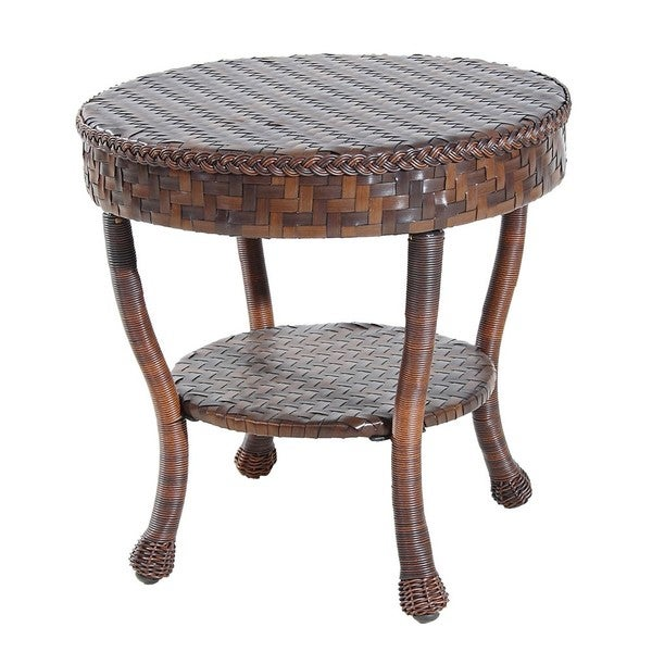 Outdoor Wicker Patio Round End Table 14078394