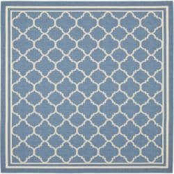 Blue/ Beige Indoor Outdoor Rug (6'7 Square)