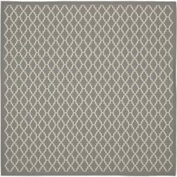Dark Grey/ Beige Indoor Outdoor Rug (6'7 Square)