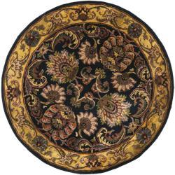 Safavieh Handmade Delhi Navy/ Gold Wool Rug (3'6 Round)