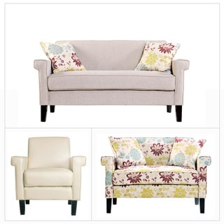 angelo:HOME Ennis Cream Chenille 3 piece Sofa Collection