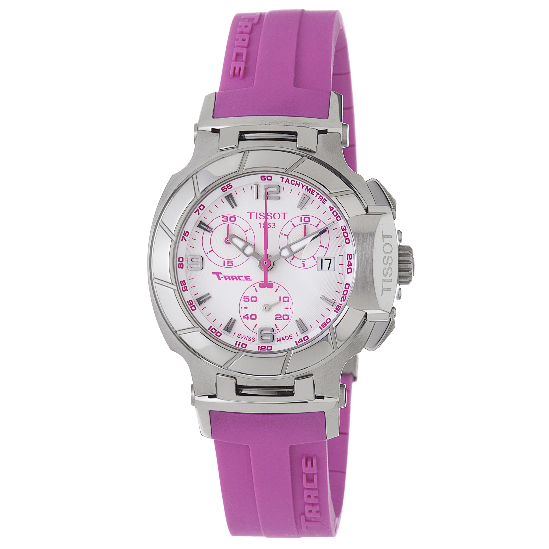 Tissot Women's 'T-Race' White Chronograph Dial Pink Rubber Strap Watch