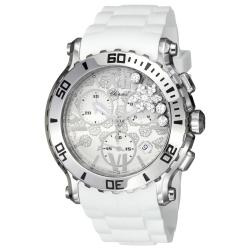 Chopard Women's 'Happy Sport Round' White Diamond Snow Dial Watch