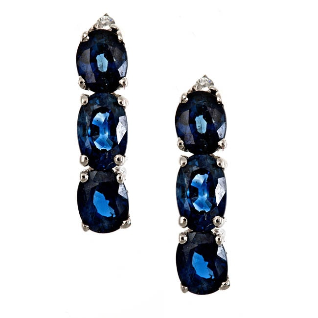D'Yach 14k White Gold Blue Sapphires and Diamond Earrings