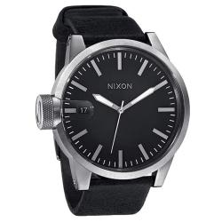 Nixon Men's Chronicle A127000 Black Leather Analog Quartz Watch with Black Dial