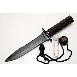 Defender Heavy-duty 10.5-inch Black Survival Knife with Nylon Sheath