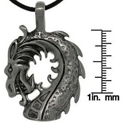 CGC Pewter Unisex Dragon Head Black Leather Cord Necklace