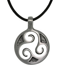 CGC Pewter Unisex Celtic Triskelion Spiral Black Leather Cord Necklace