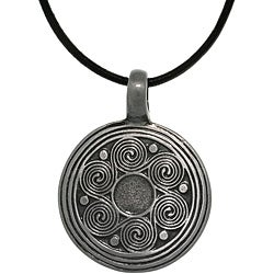 CGC Pewter Unisex Spiral Waves Black Leather Cord Necklace