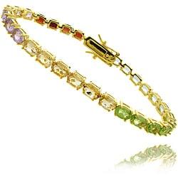 Dolce Giavonna 14k Gold over Silver 14 1/2ct TGW Multi-gemstone Bracelet