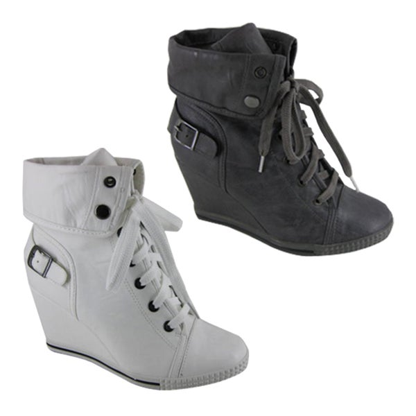 Bucco Womens Lace-up Wedge Booties