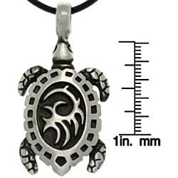 CGC Pewter Unisex Tribal Turtle Black Leather Cord Necklace