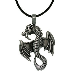 CGC Pewter Unisex Flying Dragon Black Leather Cord Necklace