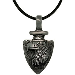 CGC Pewter Men's Eagle Arrowhead Black Leather Cord Necklace