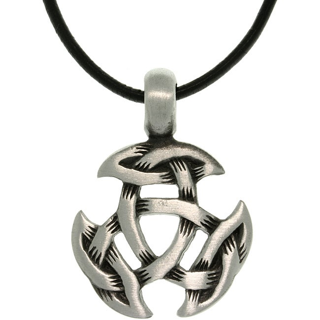 CGC Pewter Unisex Celtic Crescent Knot Black Leather Cord Necklace
