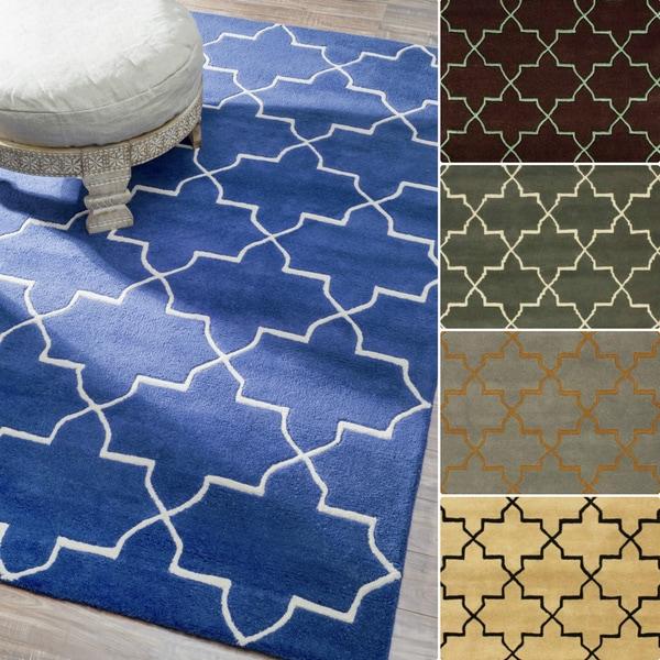 nuLOOM Abstract Handmade Moroccan Trellis Wool Rug (5' x 8')