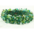 Handmade Capullo Green/Blue Beaded Bracelet (Guatemala)