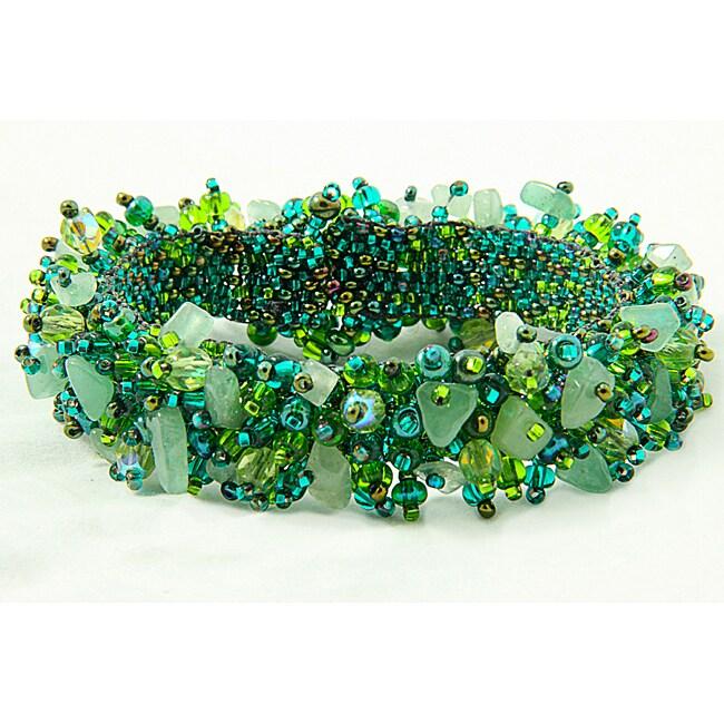 Handmade Capullo Green/Blue Beaded Bracelet (Guatemala)
