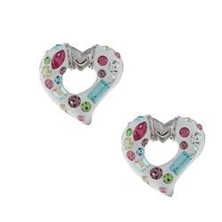 La Preciosa Sterling Silver Enamel Open Heart Crystal Earrings