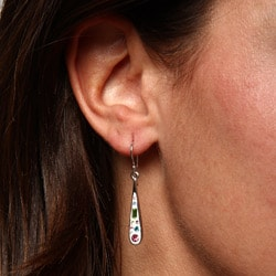 La Preciosa Silver Enamel and Multi-colored Crystal Teardrop Earrings