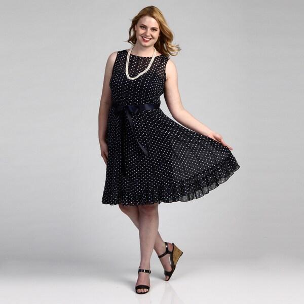 Jessica Howard Plus Navy/ White Polka-dot Dress