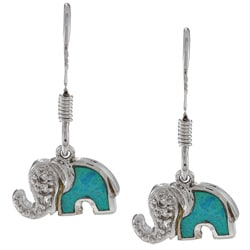 La Preciosa Sterling Silver Created Opal and CZ Elephant Earrings
