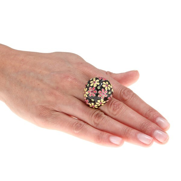 Betsey Johnson Goldplated Pink/ Yellow Flower Dome Stretch Ring