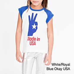 American Apparel Girls' America Screen Print Baby Rib Cap Sleeve Raglan