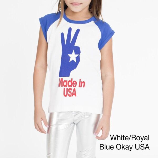 American Apparel Girls' America Screen Print Baby Rib Cap Sleeve Raglan
