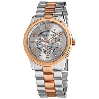 Vernier Women's V208 Round Two Tone Chrono Look Bracelet Watch