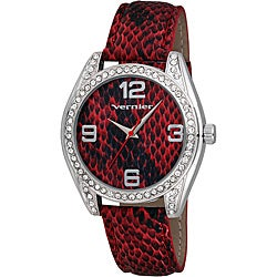 Vernier Women's V11097 Series Fashion Red Snake Skin Pattern Watch