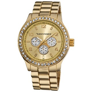 Vernier Women's V11088 Gold Chrono Look Glitz Bracelet Quartz Watch