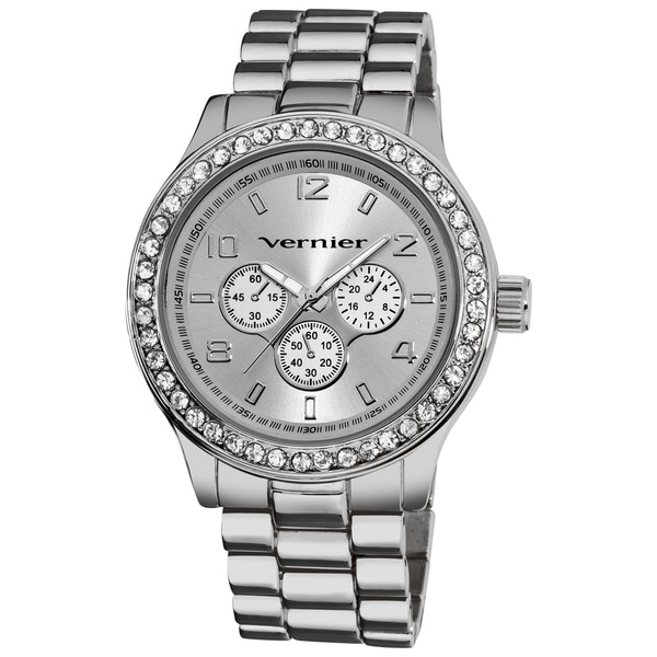 Vernier Women's Oversized Chrono Look Glitz Bracelet Quartz Watch