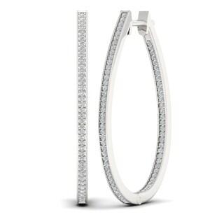 Sterling Silver 1/5ct TDW Diamond Hoop Earrings (H-I, I2)